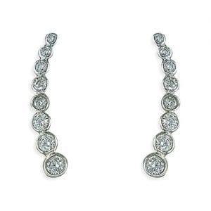 10 CZ Silver Climber Earrings